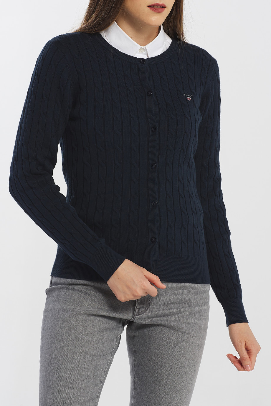 SVETR GANT STRETCH COTTON CABLE CARDIGAN