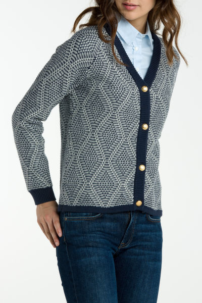 Svetr GANT O1. COTTON WOOL ARGYLE CARDIGAN