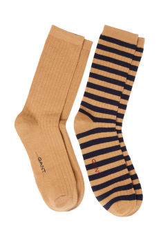 PONOŽKY GANT D1. 2-PACK SOLID STRIPE RIB SOCKS