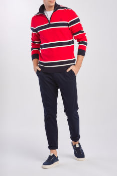 SVETR GANT D1. KNITTED STRIPED HALFZIP