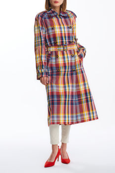 KABÁT GANT D1. OVERSIZED CHECKED TRENCH COAT