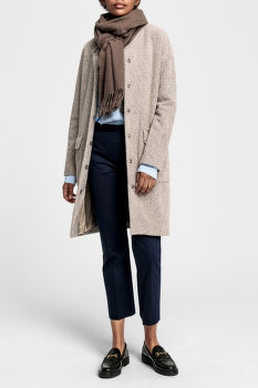 KABÁT GANT O2. COLLARLESS BOILED WOOL COAT