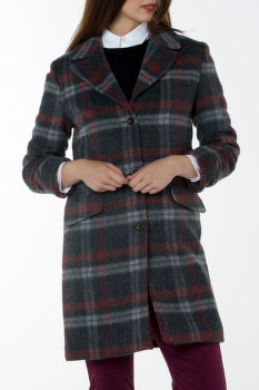 Kabát GANT O2. CHECKED MOHAIR COAT